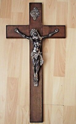 Very Large Antique French Hard Wood Wall Hanging Cross/crucifix
