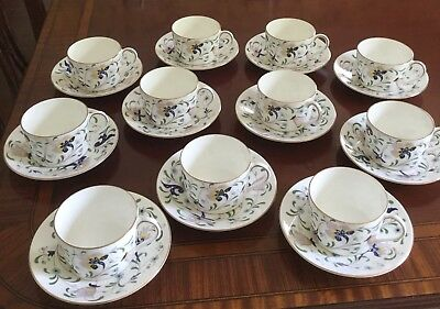 Coalport Set of 11 Cups and Saucers in Pageant Pattern Hand Painted from England