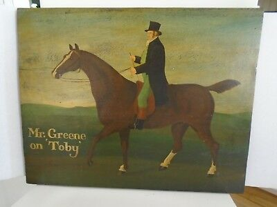 Vintage Oil Painting on Board*Horse and Rider in the British Equestrian style