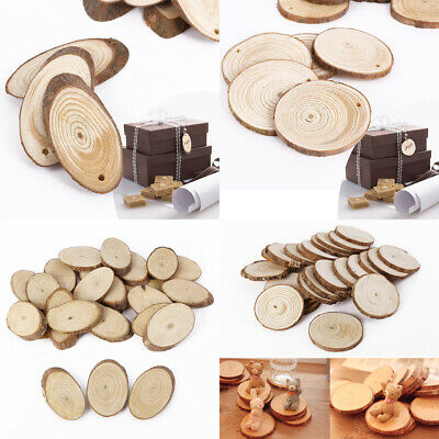 Wooden Round or Oval Log Slices Discs Rustic Tree Bark Decorative Hole/no hole