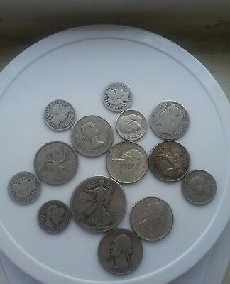 1934 washing quarter and 13 silver coins