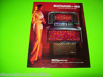 "SPS2 ""Matador 160"" By SEEBURG 1983 ORIGINAL JUKEBOX PHONOGRAPH FLYER BROCHURE #2"