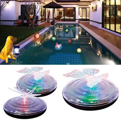 Floating Solar Power LED Dragonfly Butterfly Pond Lamp Festival Decoration New