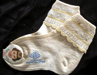 pair of NWT antique/vintage baby socks by Babe LeRoi, sz 4.5, lacy cuff w yellow