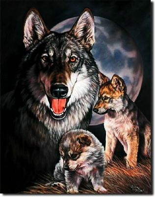 "16"" X 12.5"" Wolves Tin Sign - Nice-Made In Usa-Free Shipping"