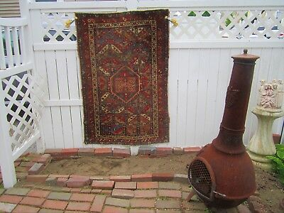 antique estate old karaja heriz persian oriental rug area carpet