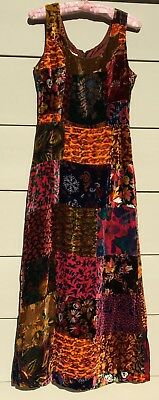 "Vntg 60's/70""s  John Meyer of Norwich Colorful Velvet Patch Maxie Dress Sz 10"