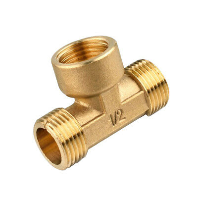 """1/2"""" 3-Way Brass Male Female Male Tee Fitting Pipe Connector T-Junction"""