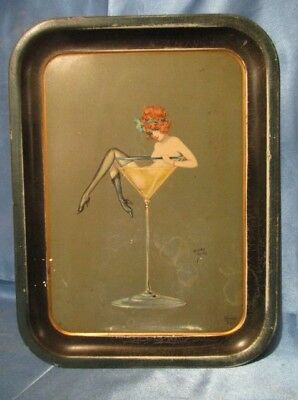 31 Vintage Canco Beautébox Cocktail Tray Flapper In Martini Glass By Henry Clive