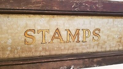 Vintage / Antique U.S. postage Sign postal glass etched gold leaf, wood