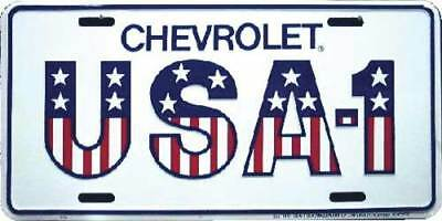 CHEVROLET USA-1 LICENSE PLATE ALUMINUM STAMPED METAL WHITE TAG for Car, Truck