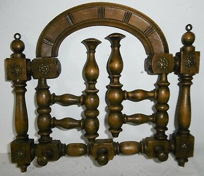 Antique Small Wall Coat Rack Rotatable haken-holz Decorations Um 1920