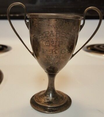 Rare Vintage 1908 Dog Show STERLING SILVER TROPHY E.A. Parsons Cup 1908