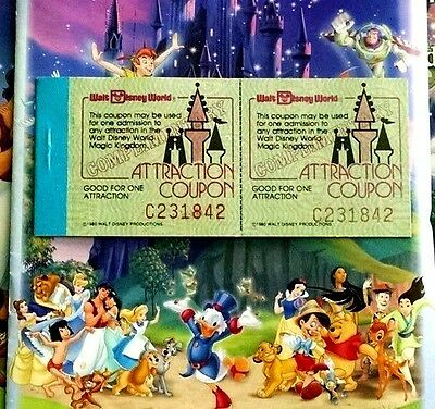 1980 Vintage Walt Disney World Magic Kingdom Ticket 5 Attraction Coupon Booklet