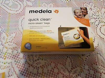 NEW NIB MEDELA Quick Clean Micro Steam Bags 5 bags