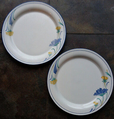 """2 LENOX Chinastone 'BUTTERCUPS ON BLUE (For The Blue)' 10¾"""" DINNER PLATES (USA)"""