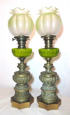 pair antique ornate 1800s French dore bronze glass electric oil table lamp brass