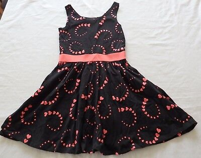 GIRLS size 8 Black with pink hearts  Party  DRESS NEW
