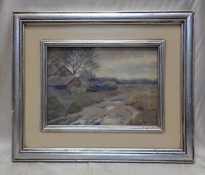 B.S. Brower Antique 1908 (Over 100 Yr Old!) Country Home Watercolor Painting