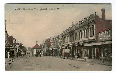 Middle Brighton, Victoria - Church Street - Early Postcard
