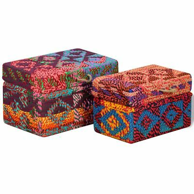 Colourful Storage Boxes Set Handmade Chindi Fabric Chests Living Room Bedroom