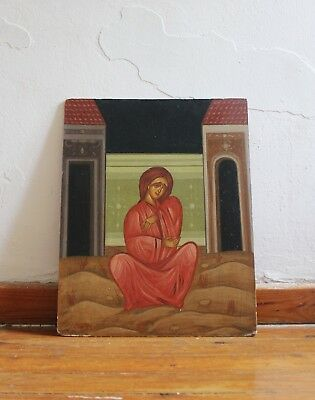 Antique Hand-Painted Greek or Russian Orthodox Byzantine Icon