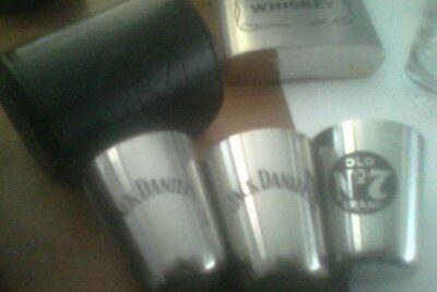 jack daniels 3pk travel cups in a leather case -