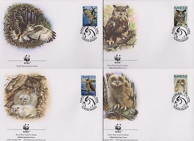 Aland 1996 World Wildlife Fund - Owls Birds - 4 First Day Covers FDC - (158)