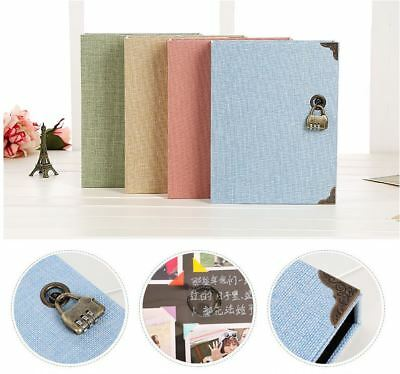Jute Burlap Cover 3 Binder DIY Album Book + 30 Pg Black Kraft Paper + Padlock