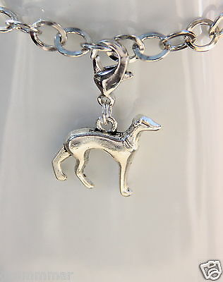 Greyhound Dog Charms Silver Tone Clip On, zipper pull  Handmade  New