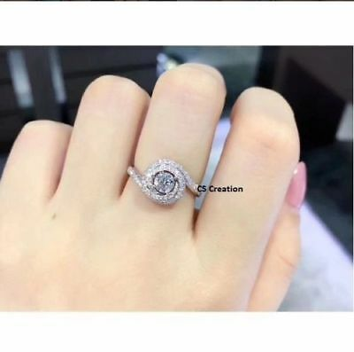 2Ct White Round Cut Diamond Forever Solitaire Engagement Ring 14K White Gold