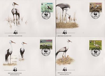 Malawi 1987 WWF - Wattled Crane - Birds - 4 First Day Covers FDC - (180)