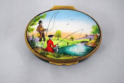 Halcyon Days Enamel Fishing Gents Landscape Scene Trinket Box