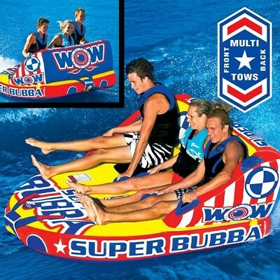 Wow Super Bubba 3 Person Inflatable Towable Water Ski Tube Biscuit (13-1092) Sq