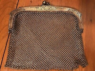 Antique Art Deco Ladies German Silver Purse Clutch Mesh Bag Evening Handbag