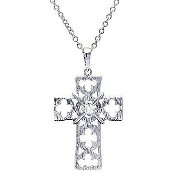 Sterling Silver Rhodium Plated Necklace w/ CZ Stone Clover Leaf Cross Pendant