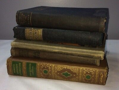 Lot of 5 Old Books Antique Vintage School Grammer Literature Poems