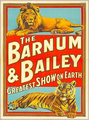 Barnum & Bailey Greatest Show Lion Tiger Vintage Circus Travel Poster Art Print