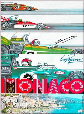 1973 Monaco French Grand Prix Art Automobile Car Race Vintage Travel Poster