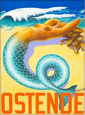 Ostende Belgium Mermaid Vintage Travel Advertisement Art Poster Print