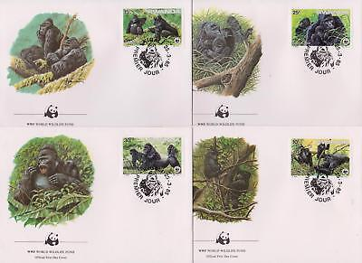 Rwanda 1995 World Wildlife Fund - Gorillas - 4 First Day Covers FDC - (191)
