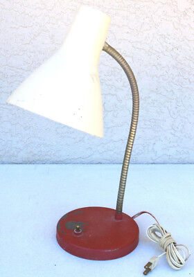 Vintage DESK TABLE Gooseneck Metal MCM LAMP LIGHT Retro Red Base Work Steam