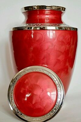 BRASS Adult Cremation Urn for Ashes -  Montana Rose Red with Silver Edging.