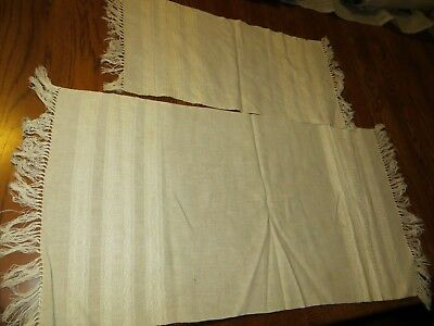 Vintage Hand Woven Cream Colored Middle Eastern Table Cloth / Runner (2)