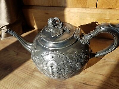 Antique Francis Howard Sheffield Silver Plated Teapot Beautiful Detailed Design.