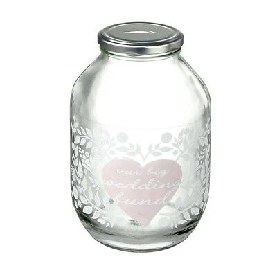 Wedding Giant Fund Glass Money Jar Savings Jar Gift Money Box Approx 22 x 13 x 7