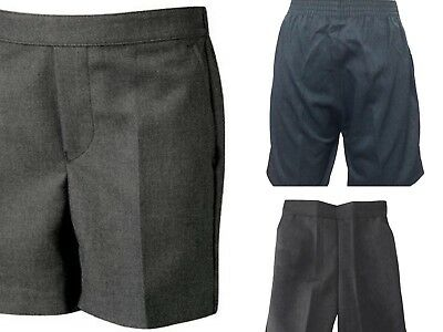 Boys Summer School Shorts (Zip+Clip) Uniform Grey Half Elasticated 2-15 Years