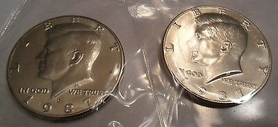 1987 P & D Kennedy Half Dollar Set (2 Coins) *MINT CELLO*  **FREE SHIPPING**