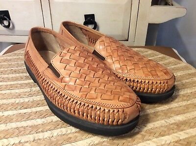 53941389367 DEER STAGS MEN S Tijuana woven tan leather Loafer Size 9D