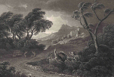 Shepherds in A Land Storm by Gaspar Poussin - 1832 Engraved Print Plus BONUS